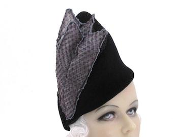 Womens Hat Black Fur Felt Velour Handmade Hat Church Wedding Hat Cloche Ascot Derby Races Headpiece Art Deco Custom Made for Each Client
