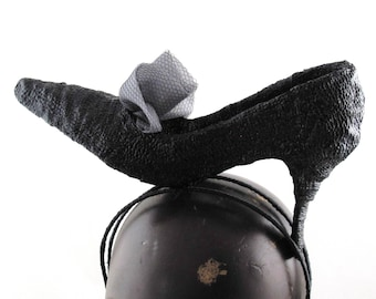 Womens Hat Black Shoe Headband Art Deco Handmade Church Cloche Derby Ascot Races Fedora Sculpture Flapper 1920 Custom Made for Each Client