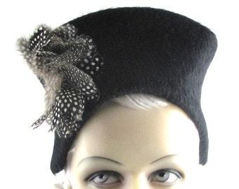 Womens Hat Black Fur Felt Long Hair Feathers Cloche Handmade Hat Church Bride Wedding Ascot Derby Races Art Deco Custom Made for Each Client