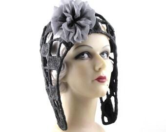 Womens Black Aviator Hat Art Deco Handmade Hat Church Cloche Derby Ascot Races Fedora Sculpture Flapper 1920 Custom Made for Each Client