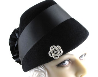 Womens Hat Black Fur Felt Velour Satin Ribbon Flower Wedding Hat Church Handmade Hat Cloche Derby Ascot Art Deco Custom Made for Each Client