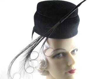 Womens Hat Black Fur Felt Velour Doll Feathers Handmade Hat Wedding Hat Church Ascot Derby Races Cloche Art Deco Custom Made for Each Client