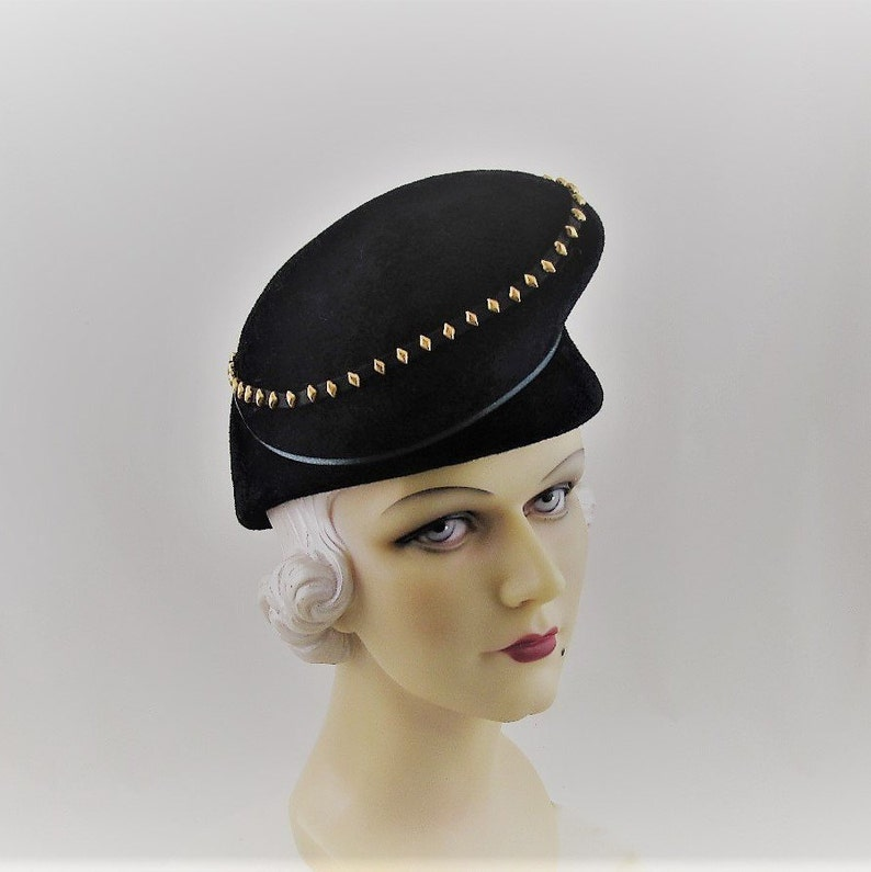 Womens Hats 14 Black Velour Fur Felt Hat Gold Handmade Hat  ab382f02c392