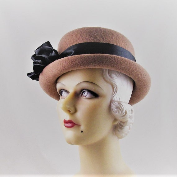 Womens Hats 82 Camel Cashmere Bowler Fedora Cloche Handmade  1b5062273598