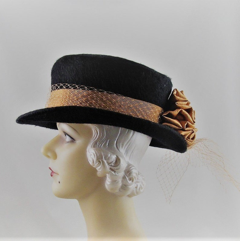 Womens Hats 65 Black Fur Felt Long Hair Top Hat Copper Flower  6552e54ee904