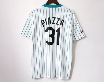 96c618757 vintage mike piazza florida marlins russell athletic henley jersey mens size  large deadstock NWOT 90s made in USA