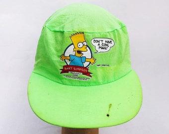 1d354528792 vintage bart simpson radical dude elastic back hat painters cap adult OSFA  deadstock NWOT 1990