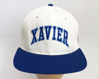 low priced 2c5ad ef700 vintage xavier musketeers snapback hat delong adult size MED-LG 90s made in  USA