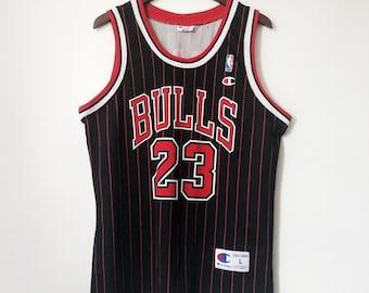 vintage michael jordan champion jersey chicago bulls pinstripe euro edition  mens size large 90s 6c2af0986a