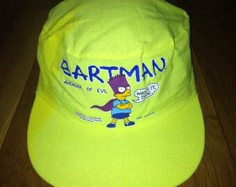 ad88b8390d0 vintage bartman avenger of evil elastic back hat painters cap adult OSFA  deadstock NWOT 1990