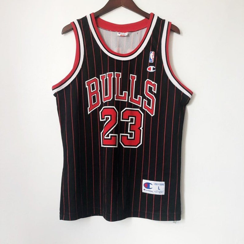 save off af059 669a4 vintage michael jordan champion jersey chicago bulls pinstripe euro edition  mens size large 90s