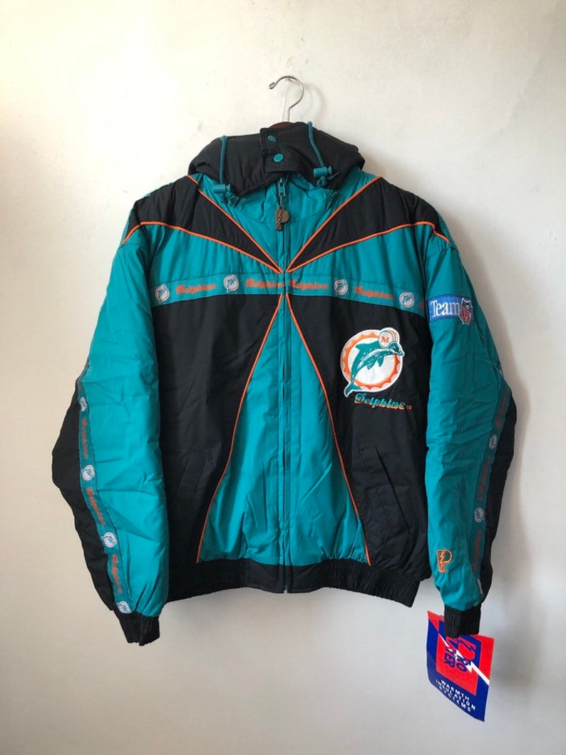 vintage miami dolphins pro player jacket coat mens size XL deadstock NWT 90s