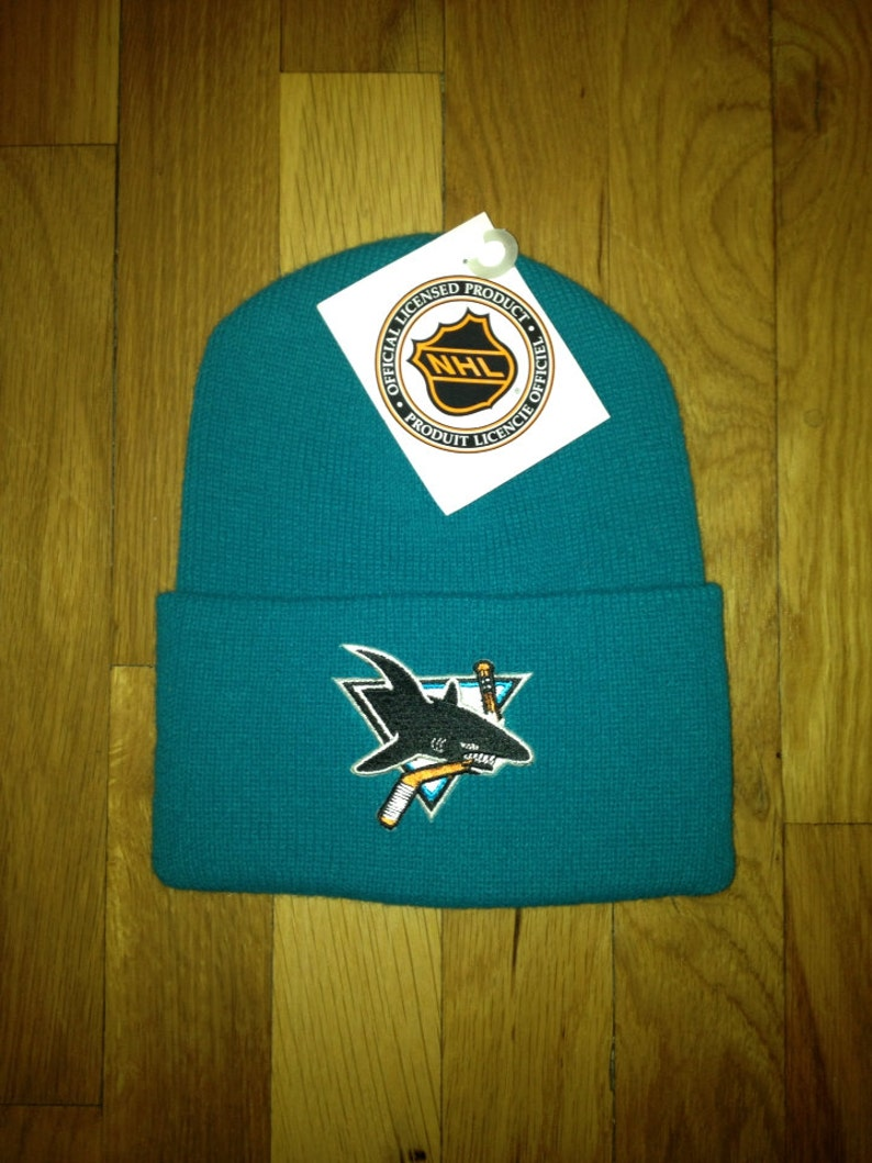 size 40 62632 dc29e Vintage san jose sharks beanie adult OSFA deadstock NWT 90s   Etsy