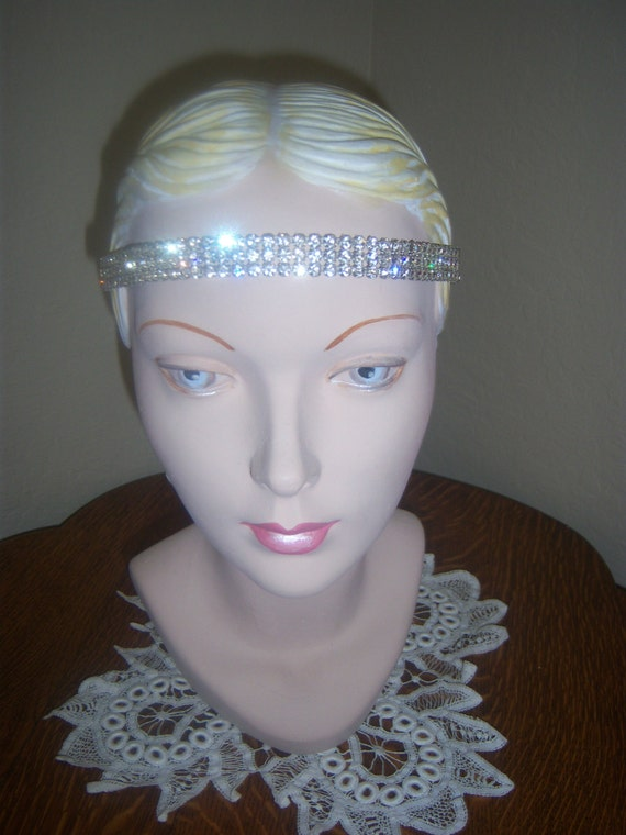 Vintage Art Deco Flapper Rhinestone Headband...The