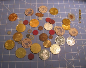 Upscale Artwork Supplies Coins wooden Nickels Aluminum coins Colorado Tax tokens Subway plugs MORE