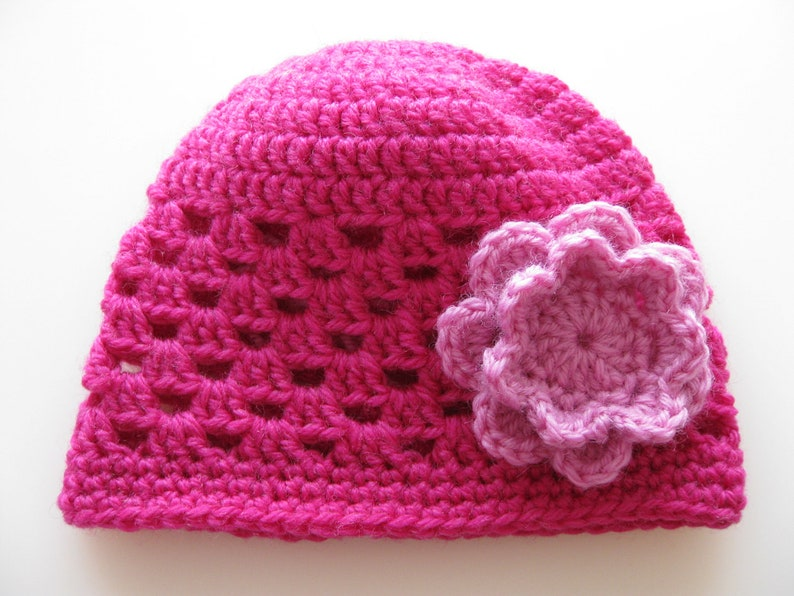 0526b9a89 Instant Download PATTERN Babys Crochet Granny Stitch Hat with Pink Flower