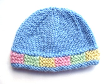 Instant download PATTERN Knit PREEMIE Hat with Colorful Garter Stitch Band