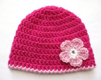 Instant Download PATTERN Crochet PREEMIE Hat Crochet Pink Flower 8ply DK Double Knit Light Worsted Edge
