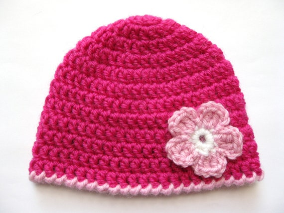 Instant Download PATTERN Crochet PREEMIE Hat Crochet Pink Flower ...