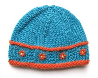 Knit preemie beanie pattern hat pdf flower prem girl baby teal orange colorful quick handmade premature tricot chapeau embroider embellish