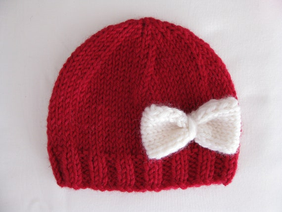Pattern Knit Preemie Newborn Hat Bow Baby Beanie 8ply Dk Etsy