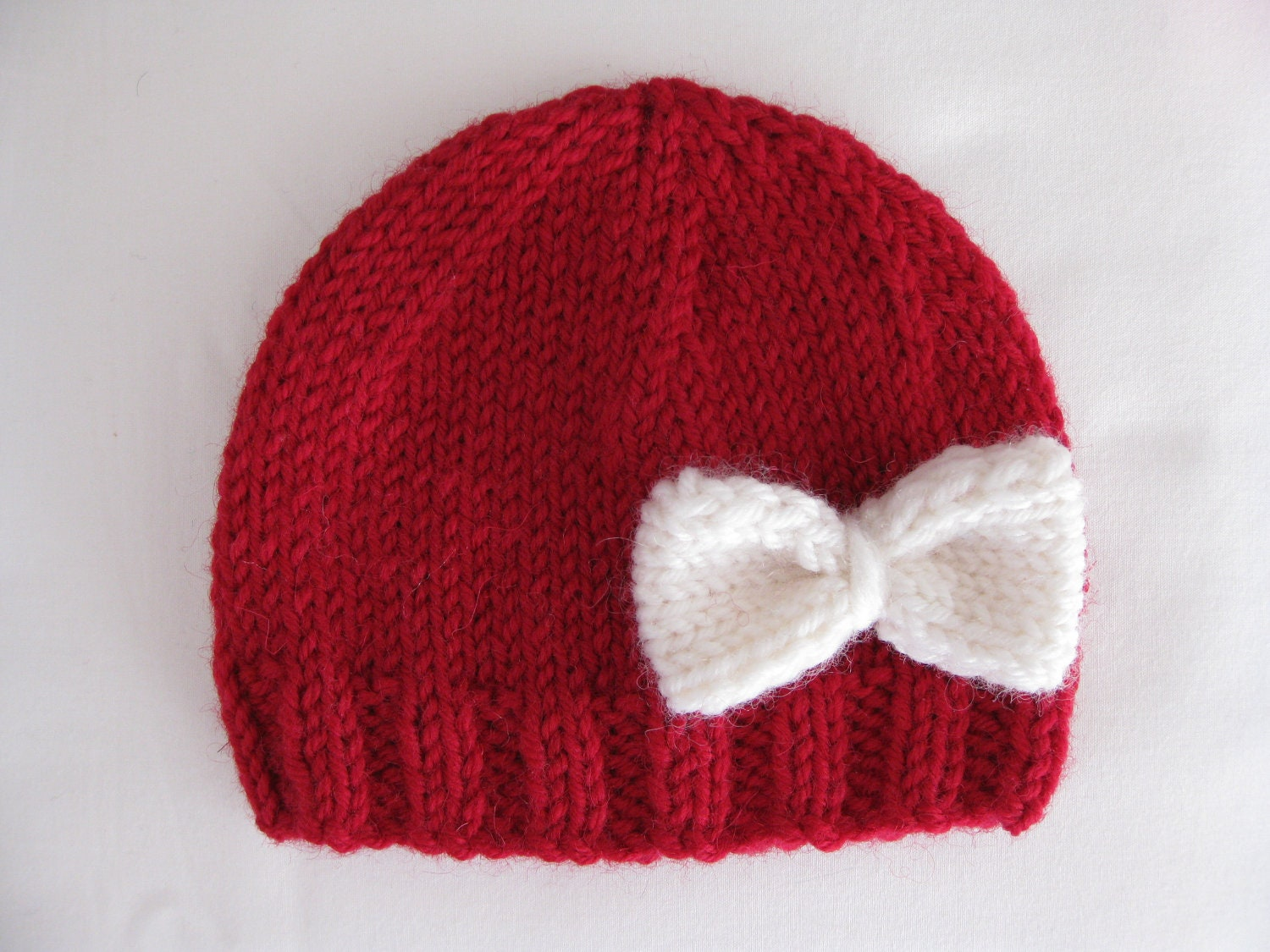 Pattern knit preemie newborn hat bow baby beanie 8ply DK double knit light  worsted girl red pdf embellish applique stockinette prem 16fcf36b2