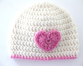 Pattern Crochet Hat Heart Preemie Girl Beanie DK Pink Edge Baby pdf Cute Quick Embellish Premature Double Knit