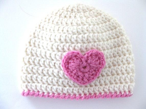 4e62e1717d513 Pattern Crochet Hat Heart Preemie Girl Beanie DK Pink Edge Baby pdf Cute  Quick Embellish Premature Double Knit