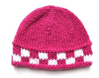 Pattern knit preemie newborn hat pdf beanie prem girl boy baby quick premature 8ply light worsted DK double knit checkerboard
