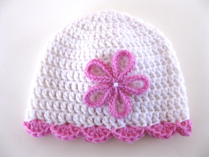 Pattern preemie crochet hat shell edge flower pdf girl baby  12421854f68