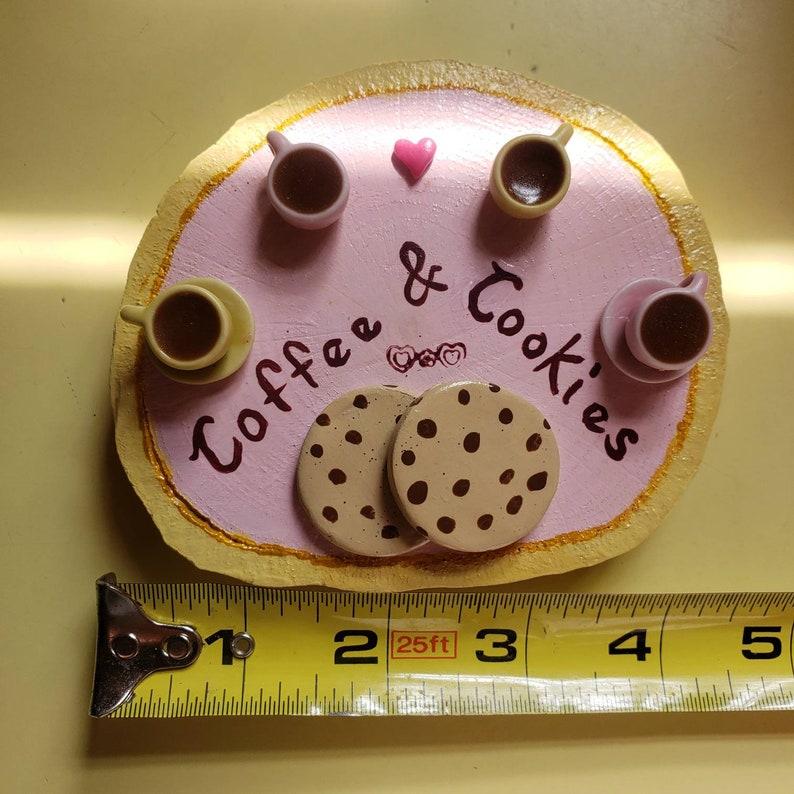 Coffee and Cookies Miniature Art Desktop Art Bookshelf Art Paperweight Art