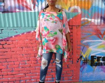 CLEARANCE ~ Chiffon Poncho Top, Printed Kimono Tunic, Over Size Semi Sheer Chiffon Top, One Size Fits Up To 4X