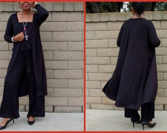 Black Knit Cardigan ~ Open Front Boyfriend Cardigan ~ Duster Cardigan With Front Pockets ~ Long Sleeve Lightweight Maxi Cardigan ~ All Sizes