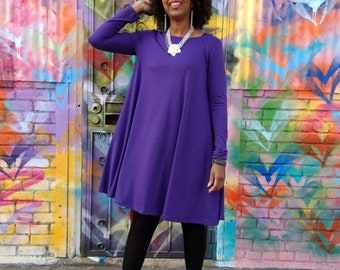 Swing Dress ~Trapeze Jersey Dress ~ Loose Fitting Long Sleeve Knit Dress ~ All Sizes / Colors Available