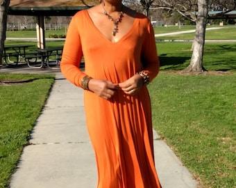 Plunge V Neck Maxi Swing Dress, Long Sleeve Jersey Maxi Dress, Deep V Swing Caftan, Burnt Orange Gown ~ All Sizes / Colors