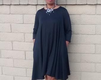 Black Knit Midi Dress, Three Quarter Sleeve Swing Dress~ Ponte Knit Scoop Neck Dress~Side Seam Pockets~All Sizes~ New Colors Added