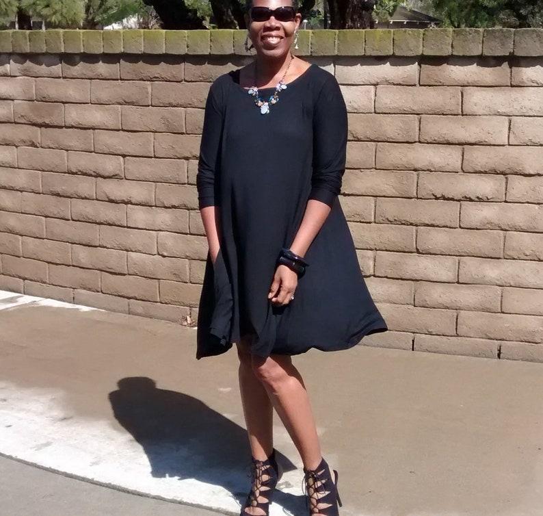 fe352b4a72d7d Black Three Quarter Sleeve Jersey Swing Dress Easy Comfy | Etsy
