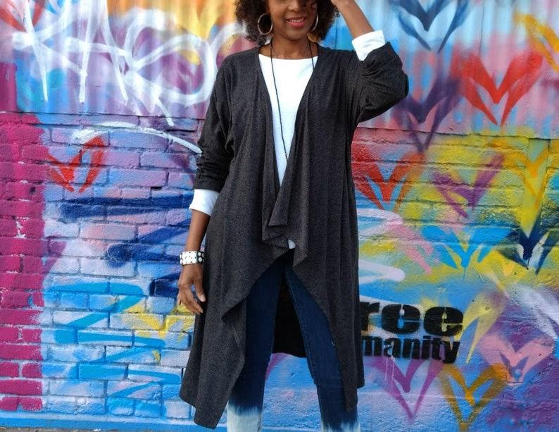 ffde75b154 Knit Cardigan Drape Collar Cardigan With Pockets Open Front | Etsy