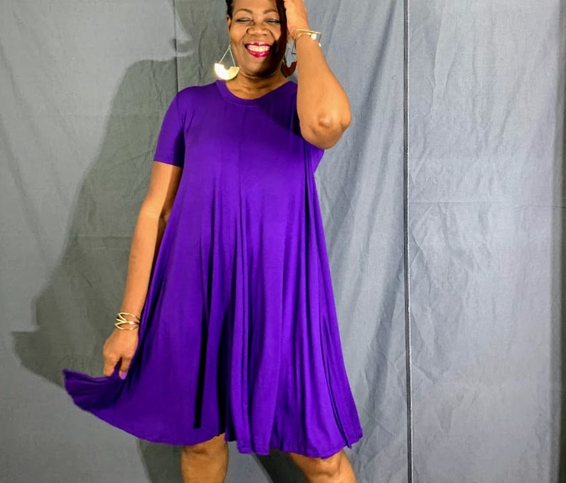 Short Sleeve Jersey Swing Dress With Pockets