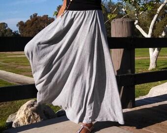 Gray A-Line Knit Maxi Skirt - Gray Pull On Maxi Skirt ~ Knit Full Skirt ~ All Sizes