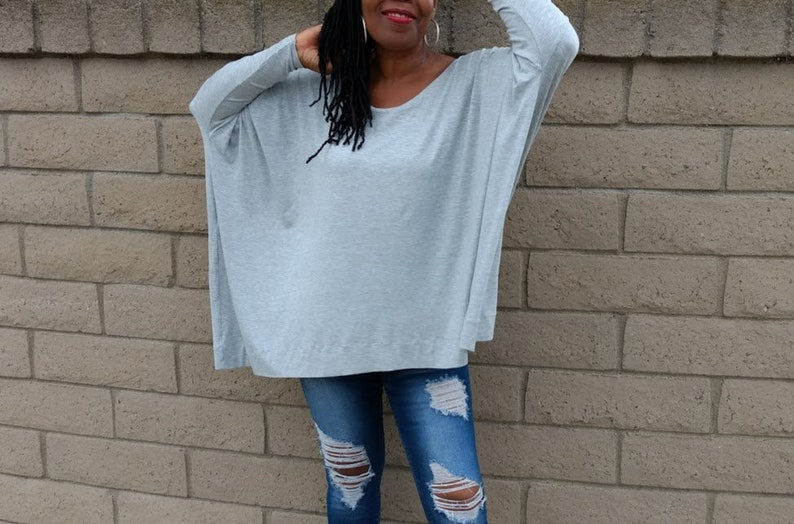 30fa6f3ecd Scoop Neck Over Sized Tee Plus Size Long Sleeve Knit Top All   Etsy