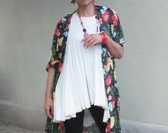 Chiffon Kimono ~ Floral Print Semi Sheer Chiffon Open Front Kimono ~ Chiffon Print Kimono Cardigan, Resort / Beach / Lounge Wear ~ All Sizes