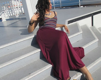 Knit Maxi Skirt ~ A Line Maxi Skirt ~  Wine ~ Available In All Sizes