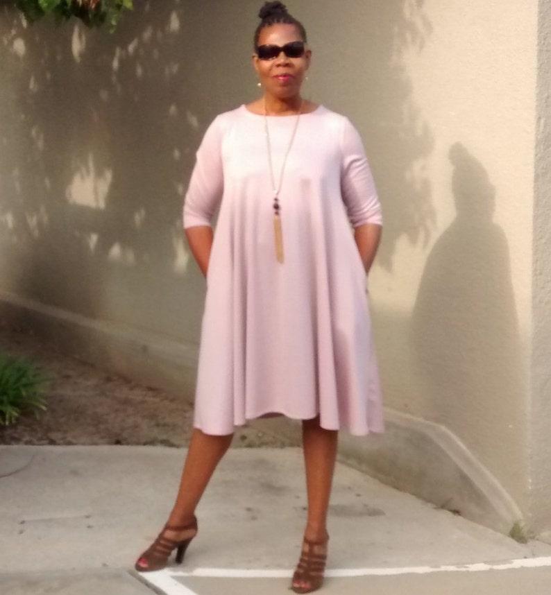 187d4b0e4e862 Pink Three Quarter Sleeve Swing Dress Crew Neck Trapeze | Etsy