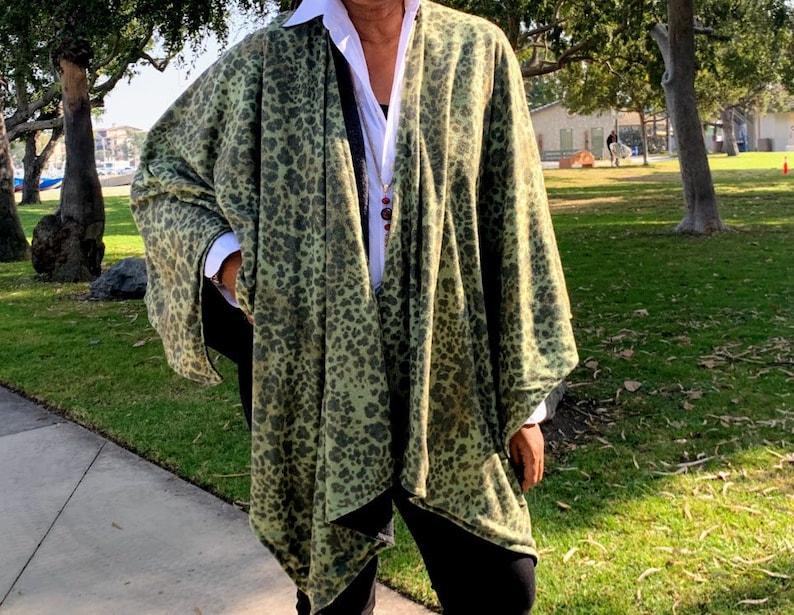 Reversible Leopard Print Poncho Wrap Cape Jacket One Size