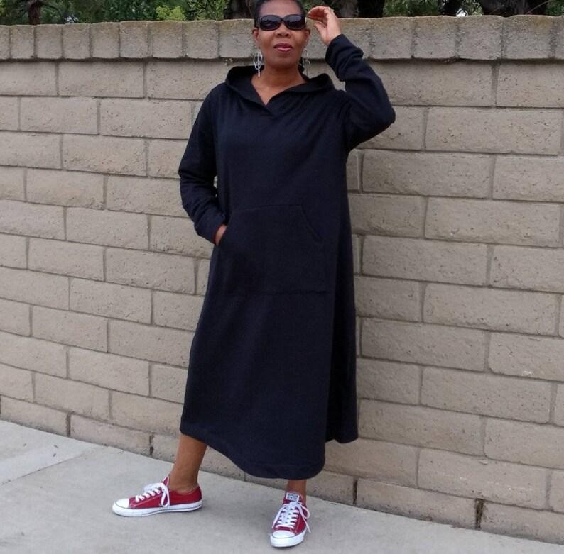 6add730469 Black Sweatshirt dress Hooded Sweatshirt Maxi Dress Long