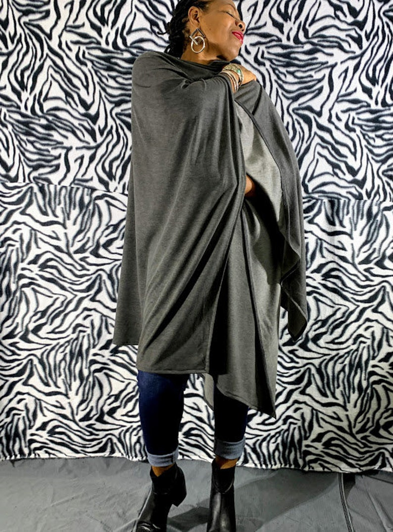Gray Cotton French Terry Open Poncho Wrap Cardigan One Size