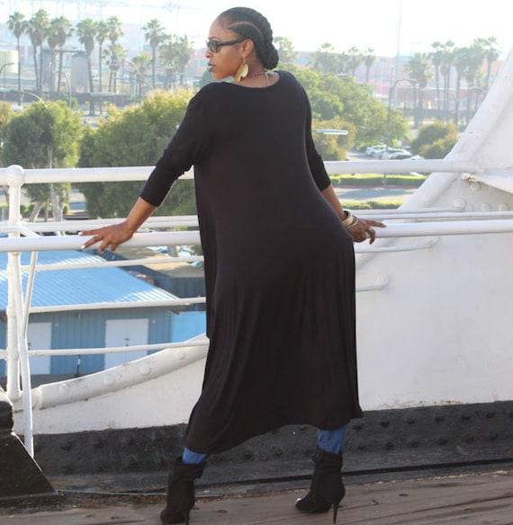 Jersey Maxi Dress Black Tee Shirt Maxi Dress Long Sleeve Etsy