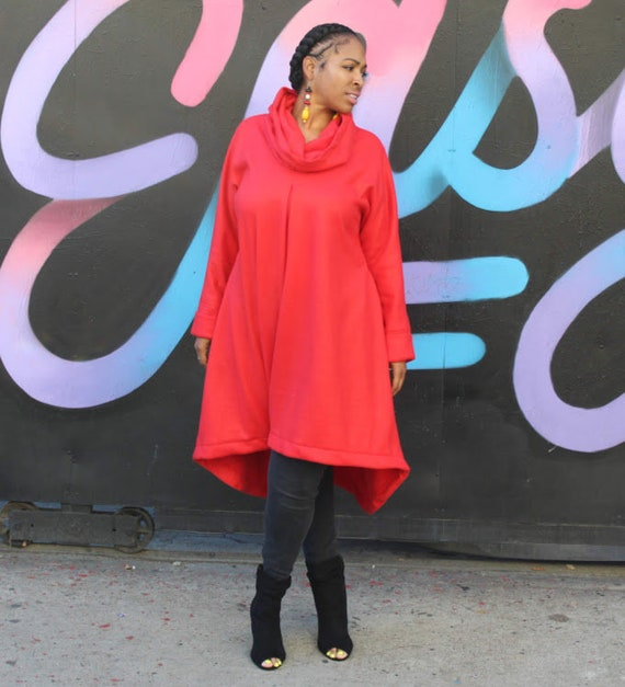 351d7e0cb0c Asymmetrical Fleece Coat Black Cowl Neck Fleece Dress   Coat