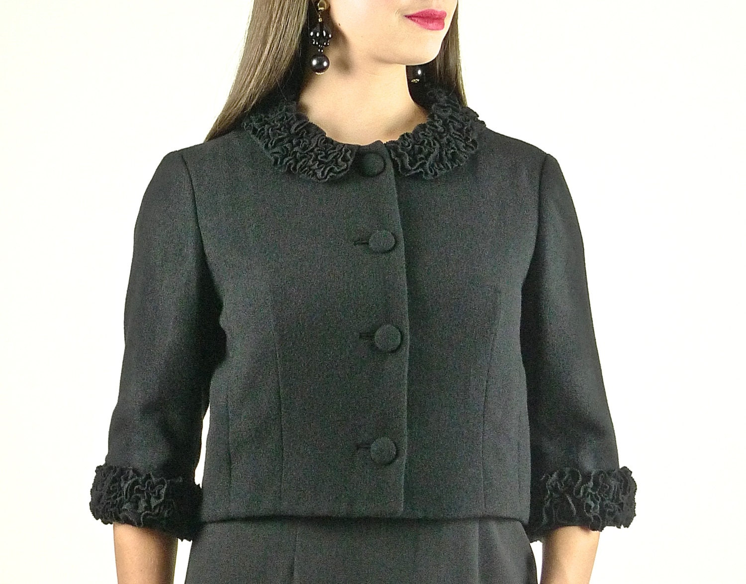Jackie O Black Cropped 50s Jacket with Ruffled Collar and ...